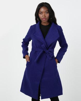 Utopia Cobalt Belted Shawl Collar Melton Coat