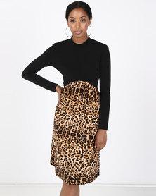 Paige Smith Polo Gauge Dress Animal And Black