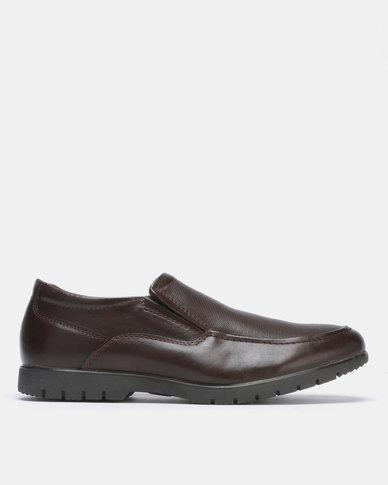 Bata Comfit Formal PU Slip On Dark Brown