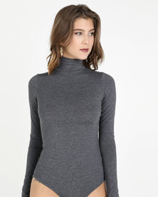 Paige Smith Poloneck Bodysuit Charcoal