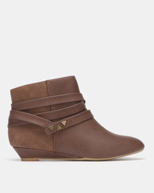 Bata Belted Ankle Boot Brown