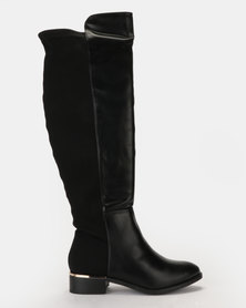 Bata Stretch Back Riding Boot Black