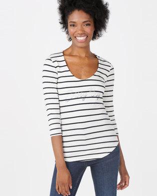 Sissy Boy Stripe V-neck Logo Top Navy   White 063816e41