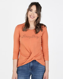 SIssy Boy Logo With Twist Hem Top Rust