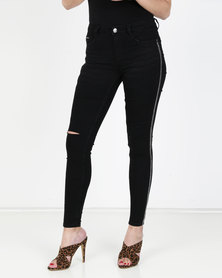 Sissy Boy Axel Mid-rise With Side Bling Detail Skinny Jean Black