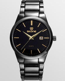 Skone Black Malmesbury Gunmetal Mens Watch - Gold Detail
