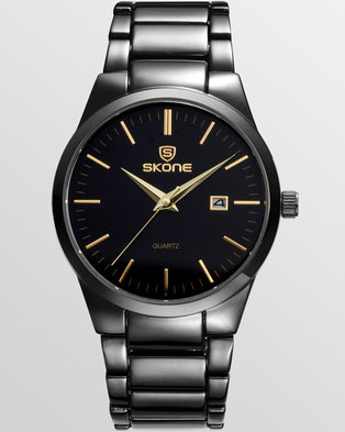 6a009128a32 Skone Black Malmesbury Gunmetal Mens Watch - Gold Detail