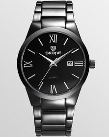 Skone Malmesbury Mens Watch Black Link Strap - Silver Detail