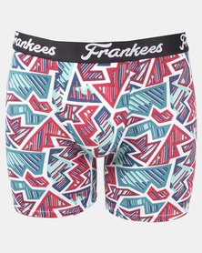 Frankees Fuzzle Printed Long Leg Trunks Red/Blue