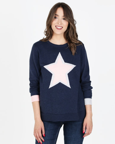 Elm Super Star Dress Navy