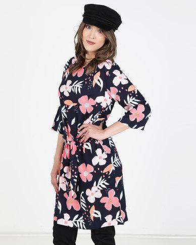 Elm Waal Flower Dress Navy