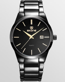 Skone Malmesbury Gunmetal Mens Watch - Gold Dial