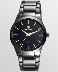 Skone Black Maldon Gunmetal Men's Watch - Gold Detail