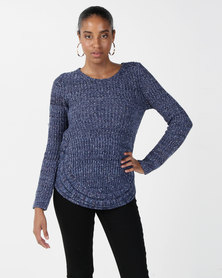 cath.nic By Queenspark Curved Hem Chunky Knit Jersey Blue