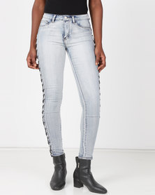 cath.nic By Queenspark Lattice Detail Woven Jeans Blue