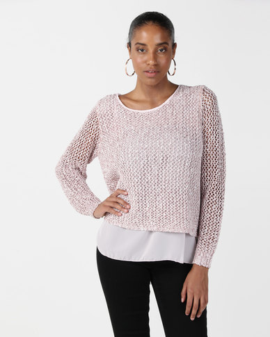 cath.nic By Queenspark Sparkle Knit Top Pink