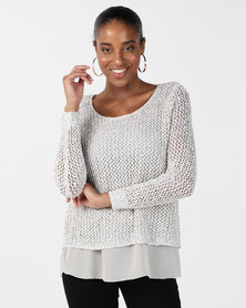 cath.nic By Queenspark Sparkle Knit Top Stone