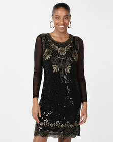 cath.nic By Queenspark Scalloped Extravaganza Mesh Knit Dress Black