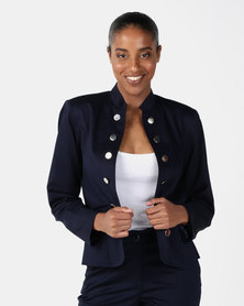 Miss Cassidy By Queenspark Double Breast Woven Jacket Navy