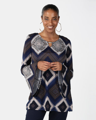Miss Cassidy By Queenspark Roman Mosaic Flute Sleeve Knit Top Blue