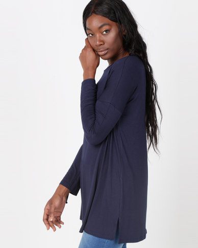 Queenspark Private Label Dropped & Rouched Long Sleeve Knit Top Navy