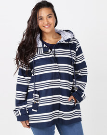 Queenspark Plus Striped Nautical Woven Jacket Navy