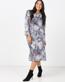 Queenspark Plus Sleeping Beauty Printed Cashmillion Snood & Dress Grey