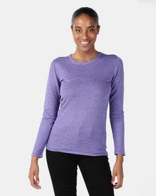 Queenspark Ottoman Melange Core Knitwear Jersey Purple
