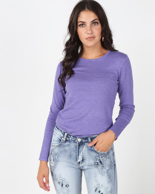 a218b373532f Queenspark Crewneck Melange Core Jersey Purple
