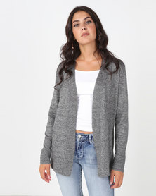 Queenspark Rib Detail Melange Core Knitwear Cardigan Grey