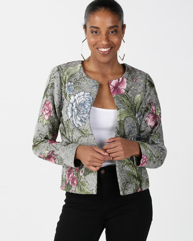 Queenspark Lattice Flower Cropped Jacquard Woven Jacket Grey
