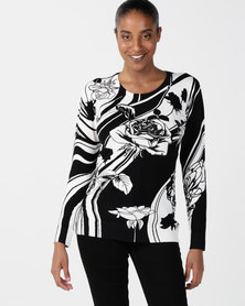 Queenspark Rose Swirl Printed Jersey Black & White