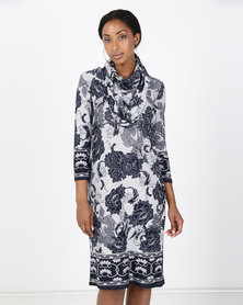 Queenspark Border Print Cashmillon Knit Dress & Snood Grey