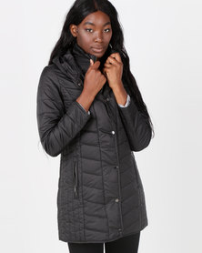 Queenspark Quilted Zip Through Woven Puffer Jacket Black