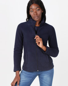 Queenspark Bonded Polar Fleece Long Sleeve Navy