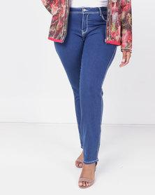 Queenspark Core Programme Thick Stitch Diamante Woven Denim Jeans Blue