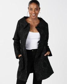 Queenspark Glamour 3D Jacquard Woven Coat Black