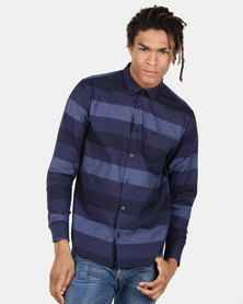 JCrew Bold Stripe Shirt Navy Blue
