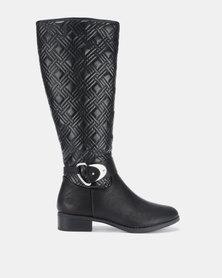Queenspark Long Boot Big Diamond Quilt Design Black