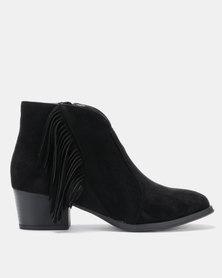 Queenspark Tassle Ankle Boot Black