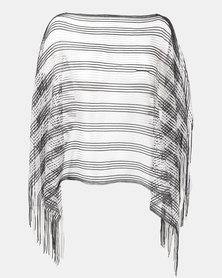 Queenspark Glam Stripe Lurex Poncho Silver