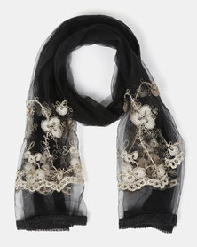 Queenspark Embroidered Flower Mesh With Border Scarf Black