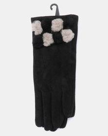 Queenspark Multi Faux Fur Trim Knit Gloves Black