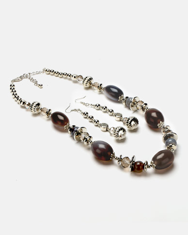Queenspark Chunky Bead Necklace and Earrings Set Grey