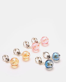 Queenspark 3 Pack Shiny Bead Earring Set Multi