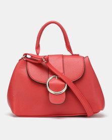 Legit Round Buckle Crossbody Bag Red