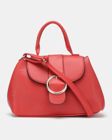 Legit Round Buckle Crossbody Bag Red