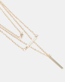 Legit 3 Layer Bar Pendant Necklace Gold-Toned