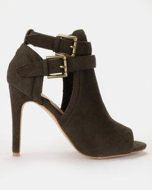 Peeptoe double buckle heeled boot Fatigue