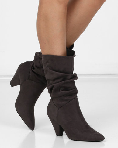 Legit Cone Heel Mid Length Slouch Boots Charcoal